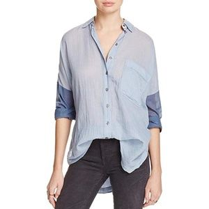 Free People Womens Blue Colorblock Casual Shirt L